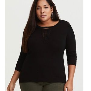 Torrid Black Lattice Knit Sweater NWT Size 2X